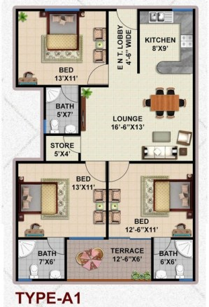 Type A1 Apartment Layout Plan