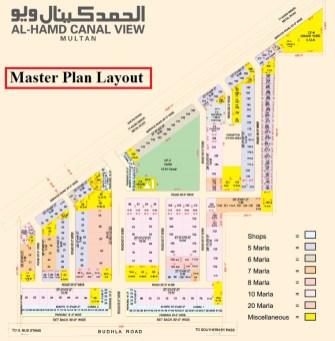 Al-Hamd CCanal View Multan - Master Plan layout at Budhla Road