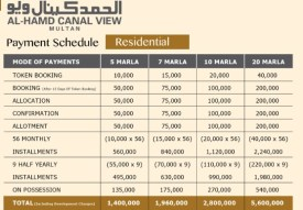 Al-Hamd Canal View Multan - Payment Schedule Residential Plots