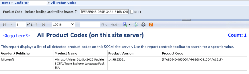 An example SSRS report to display all product codes on a Config Manager site server