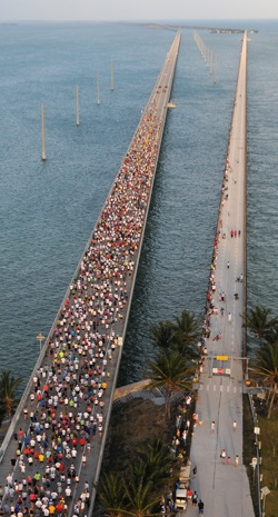 Runners from around the world are attracted every year to race the Seven Mile Bridge, one of the longest segmental bridges in the world. Photos by Andy Newman/Florida Keys News Bureau
