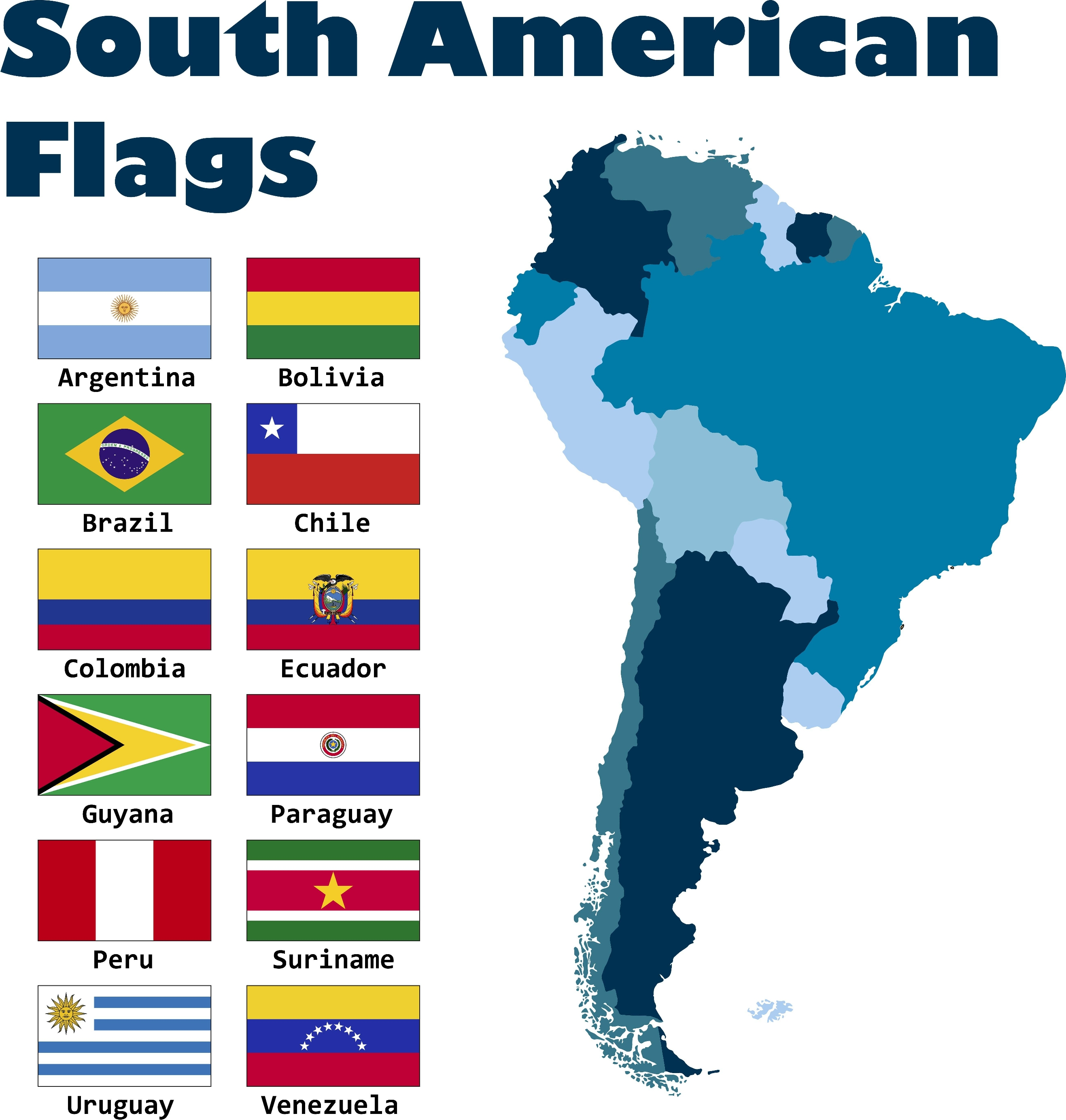 Mini South American Countries Flags