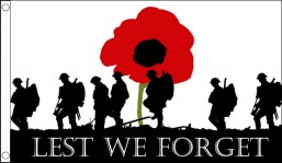 Lest we forget 8ft x 5ft flag suitable as coffin flag