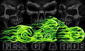 Skull rider - hell of a ride flag - 5ft x 3ft