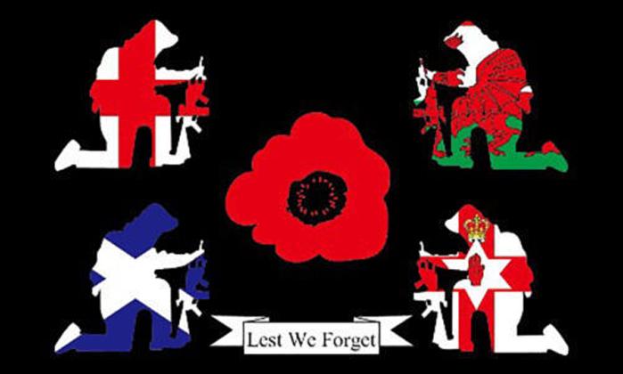 World War 1 WW1 Armistice Day Lest We Forget  5ft x 3ft  British Forces Flag Verzamelingen