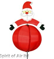 Santa Ball spinner RED windmill great for garden , Christmas or camping