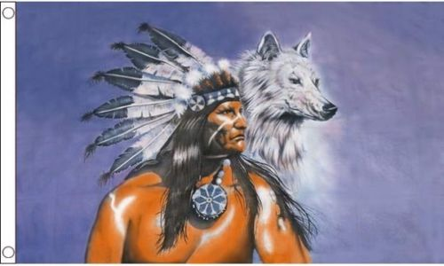 Indian with Wolf flag 5ft x 3ft with eyelets