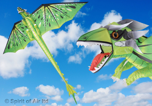 Dragon kite EMERALD GREEN with 195cm wingspan