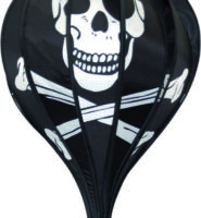 Pirate skull and crossbones hot air balloon windsock
