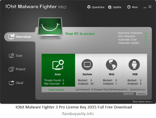 IObit Malware Fighter 3 Pro License Key 2015 Full Free Download
