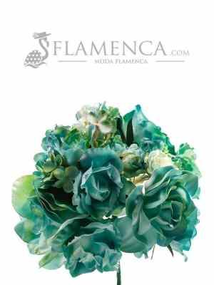Ramillete de flamenca tonos verde agua