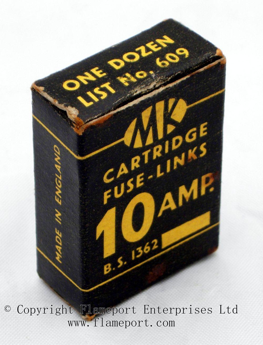 hight resolution of mk cartridge fuse links list no 609 box of one dozen 10 amp fuses