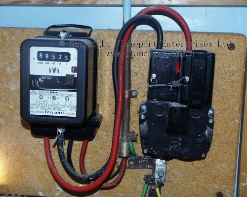 small resolution of old electrical fuse box inside a warehouse ferranti electricity meter and supplier cutout