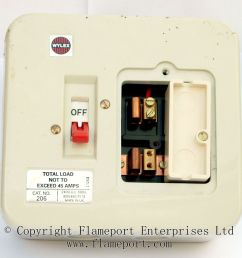 wylex 45a two way metal fusebox with fuse removed  [ 1054 x 1000 Pixel ]