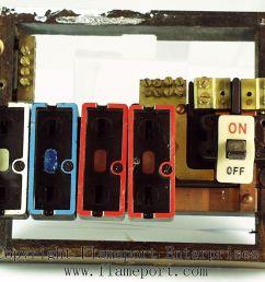 wylex standard 4 way fusebox with brown wooden frame [ 1011 x 801 Pixel ]