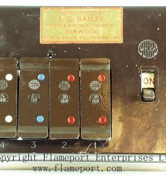 four fuses in a brown wylex fuse box  [ 1011 x 809 Pixel ]