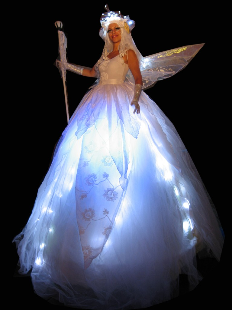 White Ice Fairy Stilt Walkers  Flaming Fun Event