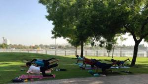 Yoga session in progress