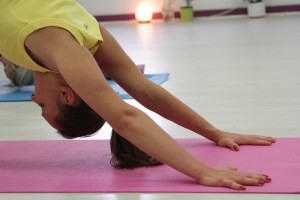 Downward facing dog in a yoga Session