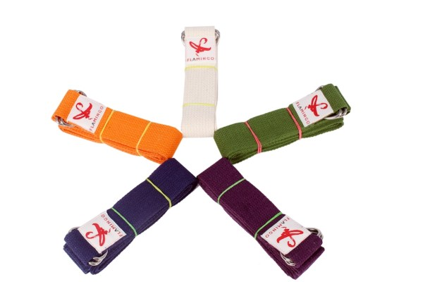 Display of coloured cotton yoga straps