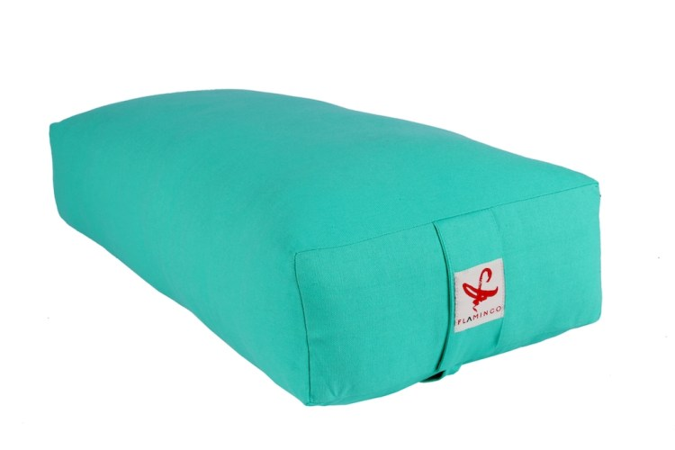 Turqouise colored flamingo rectangular yoga bolster