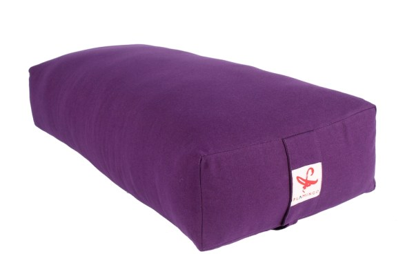 Purple colored rectangular yoga bolster available from Flamingo online store