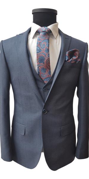 Costum Office Albastru Deschis In Carouri Bleumarin FLG030