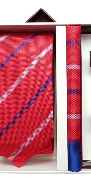 Set Cravata Batista si Butoni Rosu FLG049