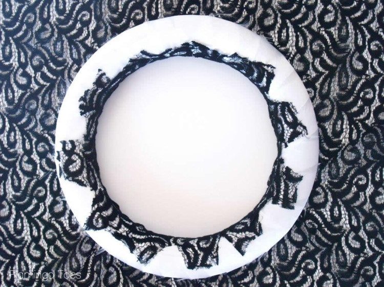 gluing lace on wreath