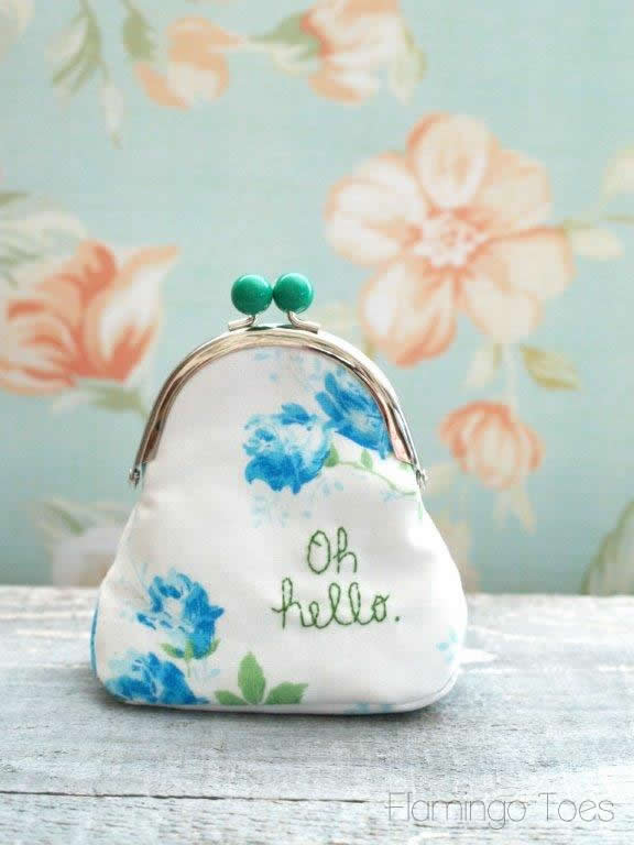 Embroidered Coin Purse with Gusset