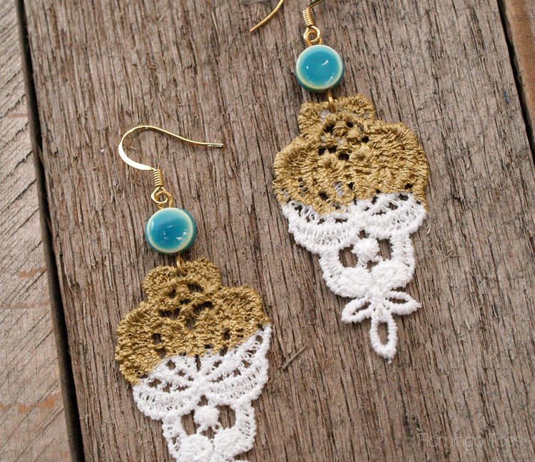 lace dipped earrings