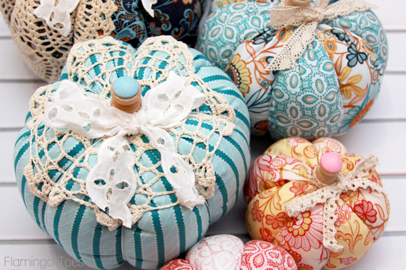 Lace and Fabric Fall Pumpkins