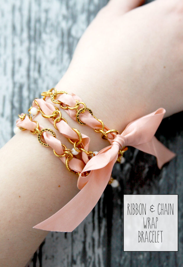 DIY Ribbon and Chain Wrap Bracelet - this is so pretty and looks so easy to make!