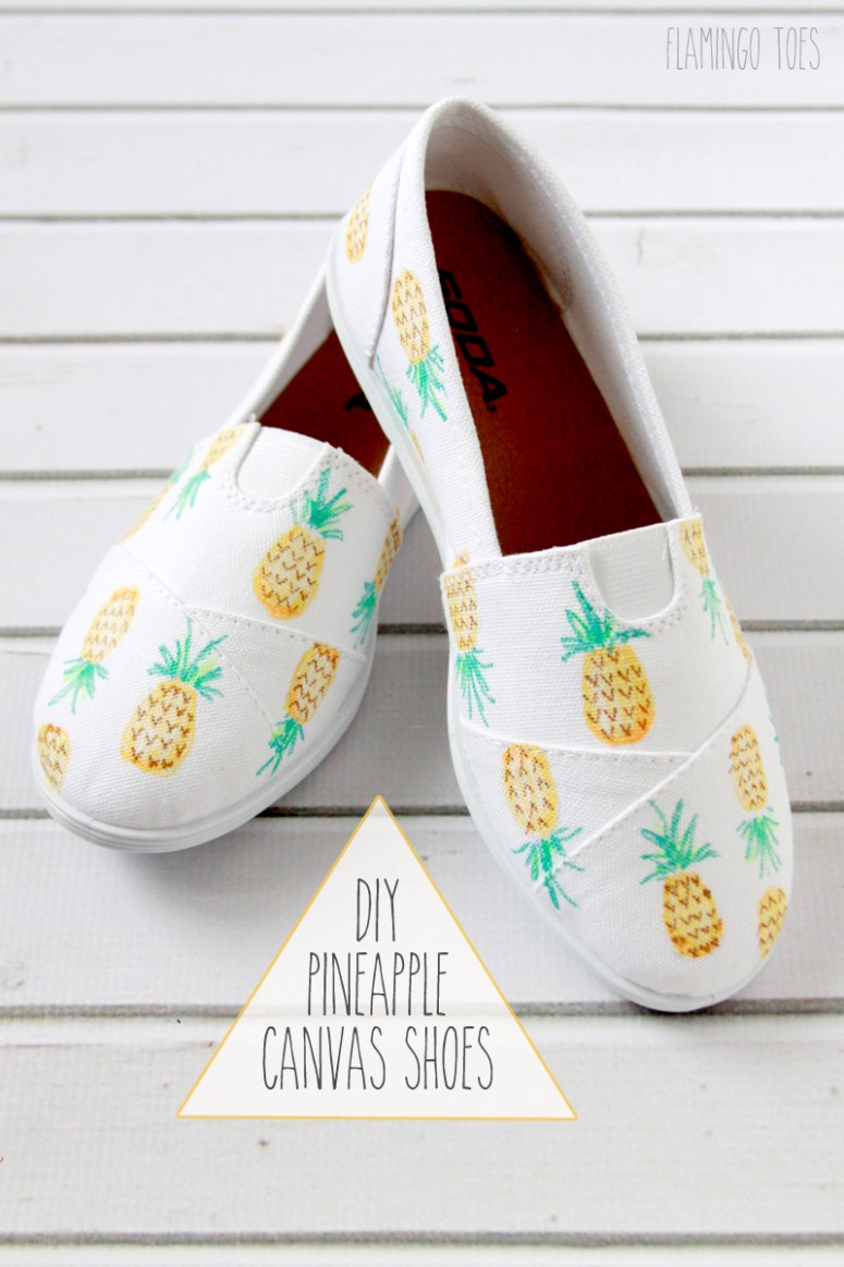 DIY Pineapple Canvas Shoes
