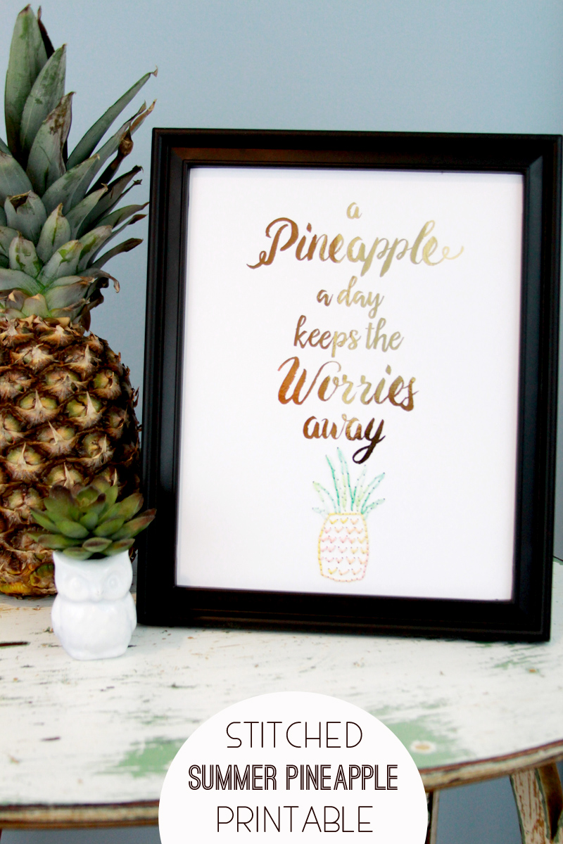 Stitched Summer Pineapple Printable