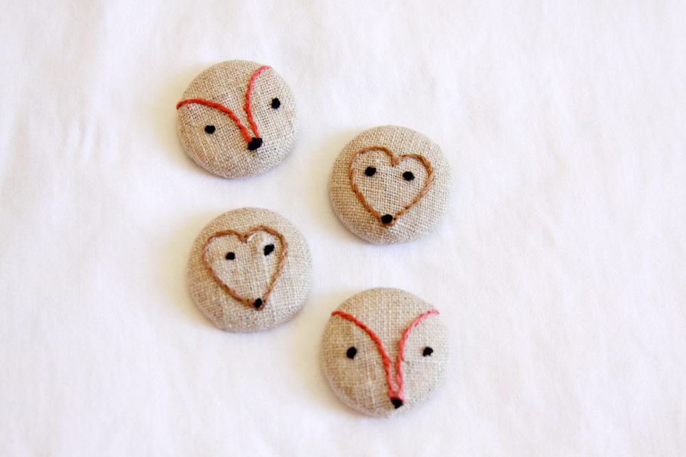 covered embroidered buttons