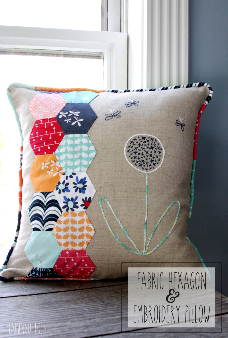 Fabric Hexagon and Embroidery Pillow