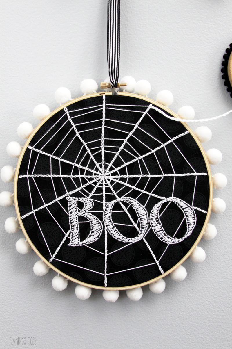 Boo Spiderweb Hoop Art