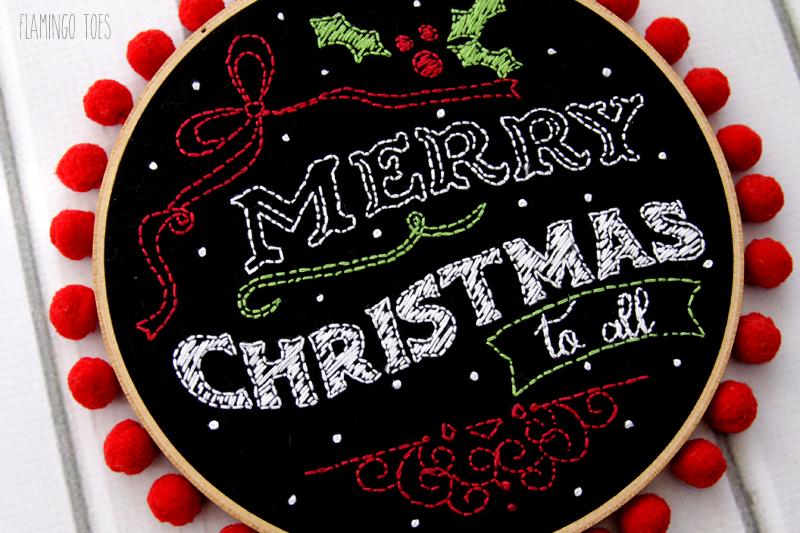 Merry Christmas Chalk Hoop