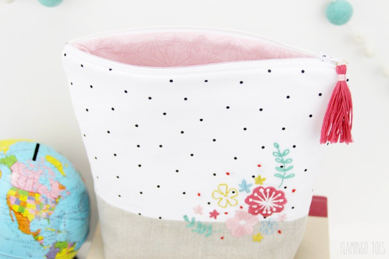 Embroidered Zipper Pouch with Pink Lining