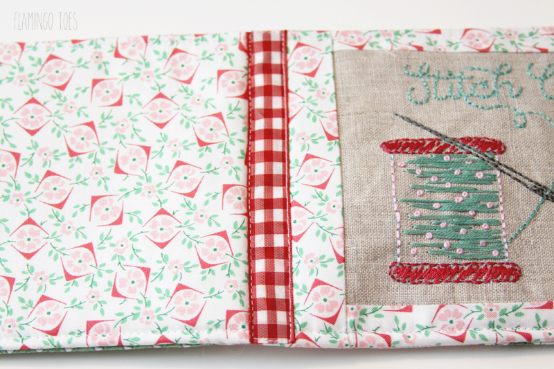 Sewing ribbon on needle book
