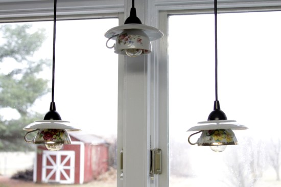 Upcycling Ideas Upcycled Kitchenware Utensils Reduce Reuse Recycle Upcycle Kitchen Vintage Old DIY Tea Cup Cups Saucer Light Lights Pendants