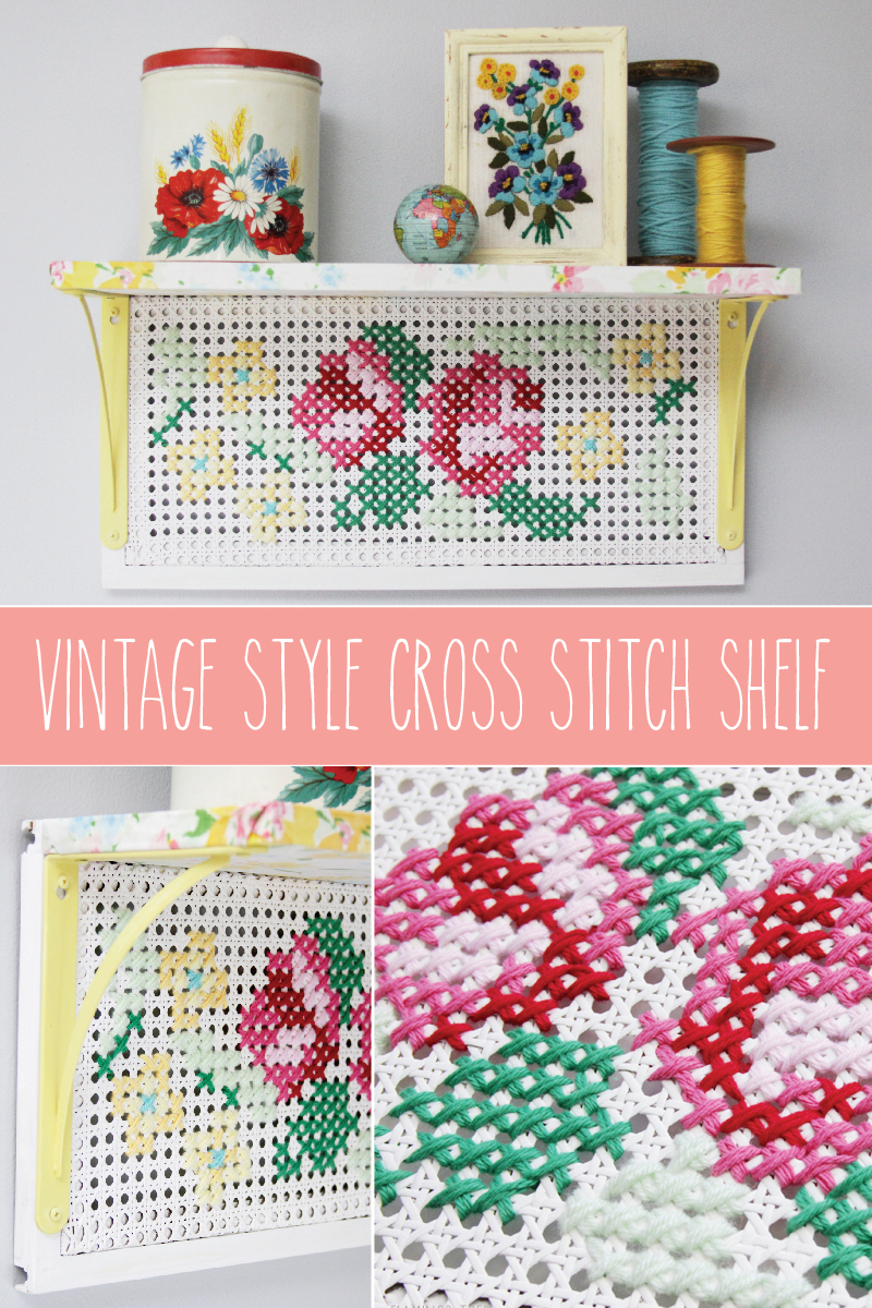 Vintage Style Cross Stitch Shelf- this is so colorful and fun!