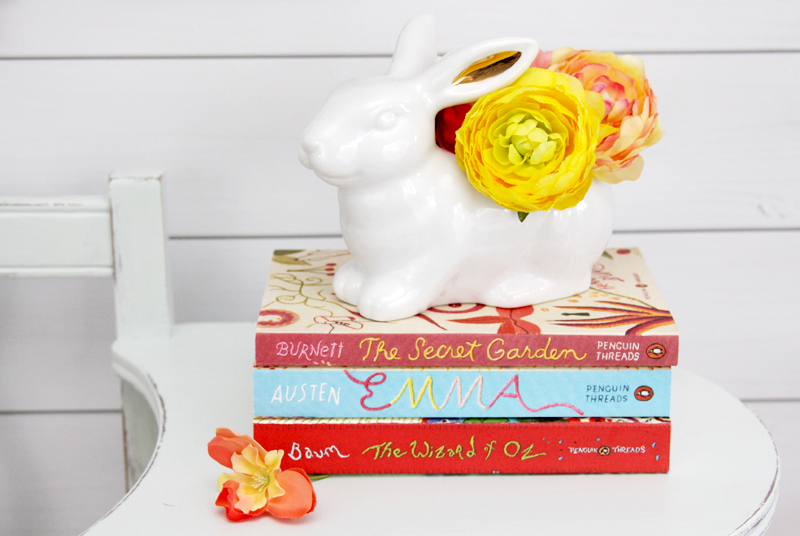 Decorating with Books and Flowers