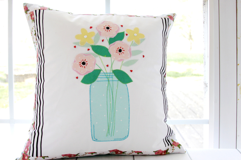 Colorful DIY Mason Jar Vase Pillow