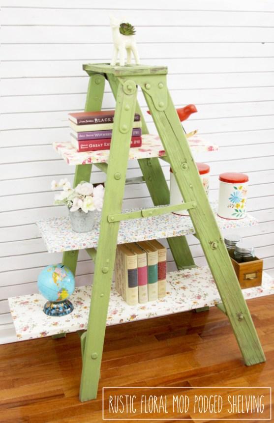 Vintage Floral Mod Podged Ladder Shelving-Flamingo Toes