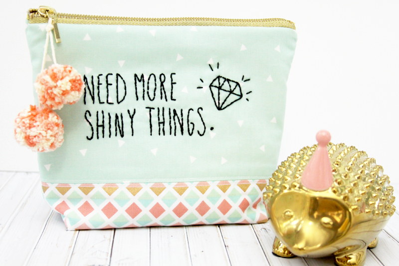 Mint and Gold Zipper Pouch