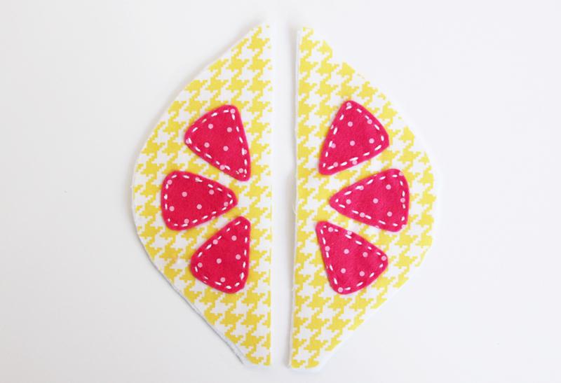 stitching-felt-to-lemon-fabric