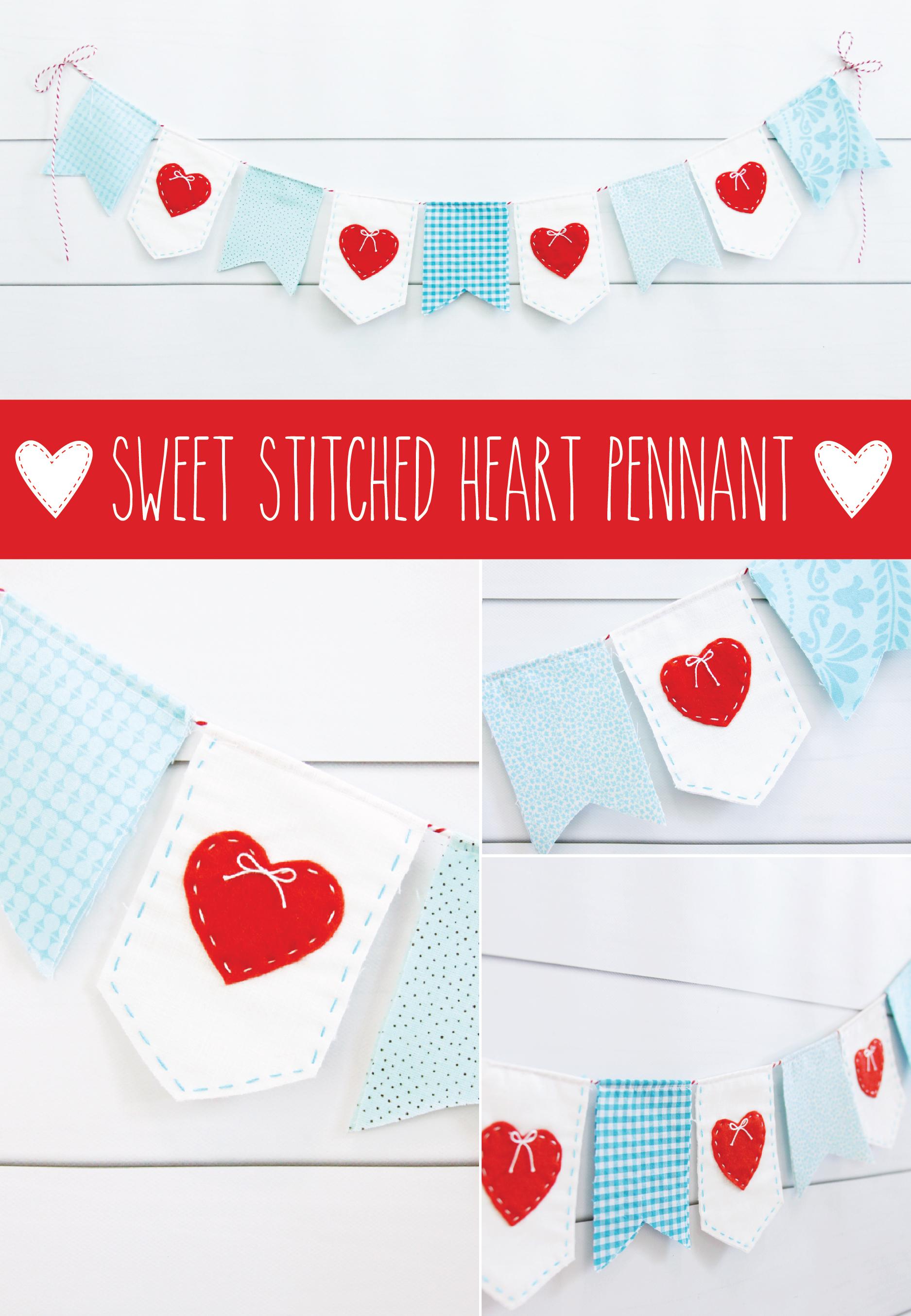 Sweet Heart Stitched Valentine's Banner
