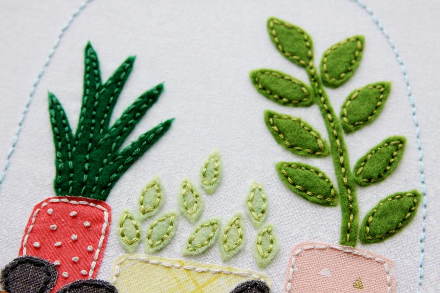 Felt Succulent Terrarium Hoop Art with Free Pattern!